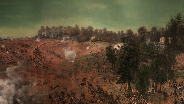 Sherman surveying the battlefield, in front of the Augustus Hurt House, east of Atlanta, July 22, 1864, Battle of Atlanta Cyclorama, Atlanta, Georgia, 1886. Painting by Atlanta Panorama Company.