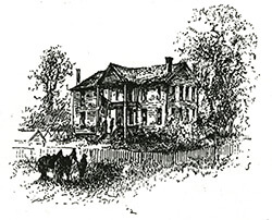 Augustus Hurt House, Sherman's temporary headquarters, Atlanta, Georgia, ca. 1864, Battles and Leaders of the Civil War, vol. 4. Sketch by Theodore Davis.