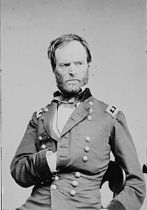 Union Major General William T. Sherman, officer of the Federal Army, advancing on Atlanta, ca. 1860. Wet plate negative. Courtesy of Brady National Photographic Art Gallery.