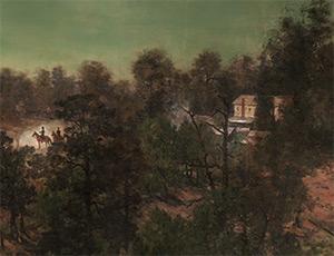 Augustus Hurt House, Sherman's headquarters on July 22, 1864, Battle of Atlanta Cyclorama, Atlanta, Georgia, 1886. Painting by Atlanta Panorama Company.