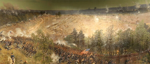 Leggett's Hill. High ground east of Atlanta where Confederate infantry repeatedly attacked entrenched Federal troops, Battle of Atlanta Cyclorama, Atlanta, Georgia, 1886. Painting by Atlanta Panorama Company.