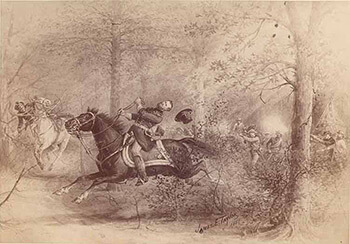 Death of General McPherson. Illustration by James E. Taylor, 1888. Courtesy of Notre Dame Archives.