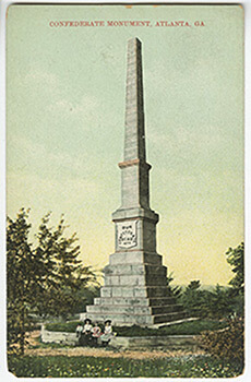 "Confederate Obelisk, dedicated to the memory of ""Our Confederate Dead,"" Oakland Cemetery, Atlanta, Georgia. Postcard made in Germany."