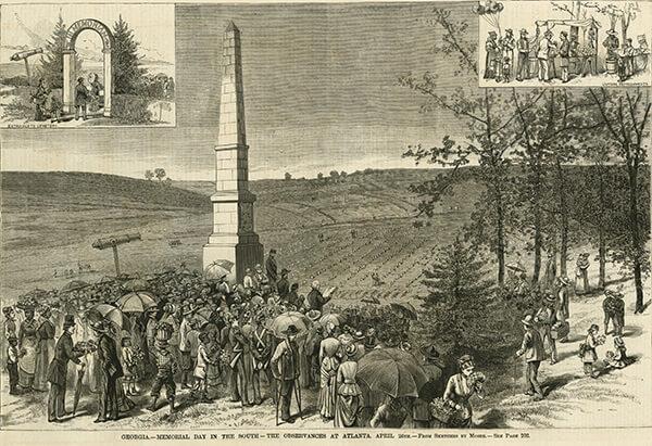 Confederate Memorial Day ceremonies, Oakland Cemetery, Atlanta, Georgia, April 26, ca. 1881, Leslie's Illustrated Weekly. Sketch by James Henry Moser.
