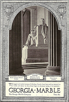 Lincoln Memorial in Washington, DC, sculpted from Tate, Georgia, marble, February 1, 1928. Advertisement from National Geographic.