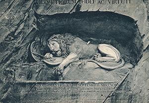 Lion of Lucerne postcard, Lucerne, Switzerland, ca. 1910. Model for the Lion of Atlanta.