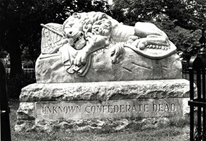 Lion of Atlanta, commemorating the unknown Confederate dead buried in the surrounding plot in Oakland Cemetery, 2009. Photograph by Matt Miller.