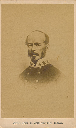 Confederate General Joseph E. Johnston, commander of the Army of Tennessee during the first months of the Atlanta Campaign. Albumen print.