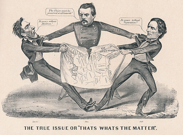 The true issue. Former Union Major General George P. McClellan, Democratic Party candidate for president in 1864 separates leaders of the Union and Confederacy. Lithograph print by Currier & Ives, ca. 1864.