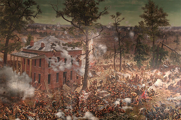 The Troup Hurt house and the four-gun De Gress Battery (right of the house), which were temporarily captured by Confederate infantry on the afternoon of July 22, 1864, Battle of Atlanta Cyclorama, 1886. Painting by the Atlanta Panorama Company.