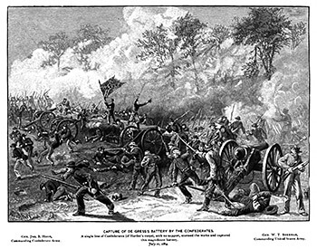 Capture of De Gress Battery by Confederate infantry, Joseph M. Brown, The Mountain Campaigns of Georgia: Or, War Scenes on the W. and A. (Buffalo, New York: Art-Printing Works of Matthews, Northrup, and Company, 1890), 69.