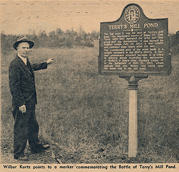 Wilbur Kurtz at Terry's Mill Pond historical marker, Glenwood Drive and Wilkinson Drive, Atlanta, Georgia, Atlanta Journal and Constitution Magazine, March 1957.