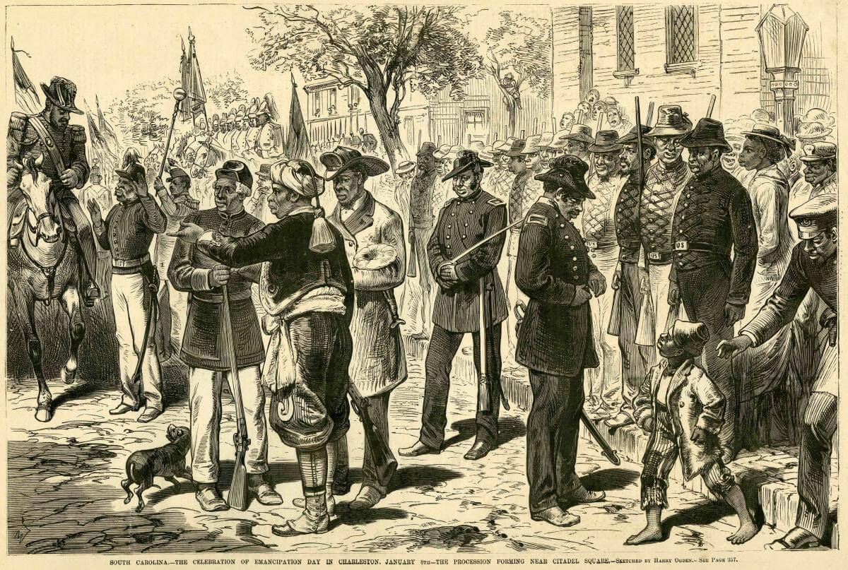 Celebration of Emancipation Day, Charleston, South Carolina, January 8, 1877. Sketch by Harry Ogden. Originally published in Frank Leslie's Illustrated Newspaper, February 3, 1877. Courtesy of Daniel A. Pollock.