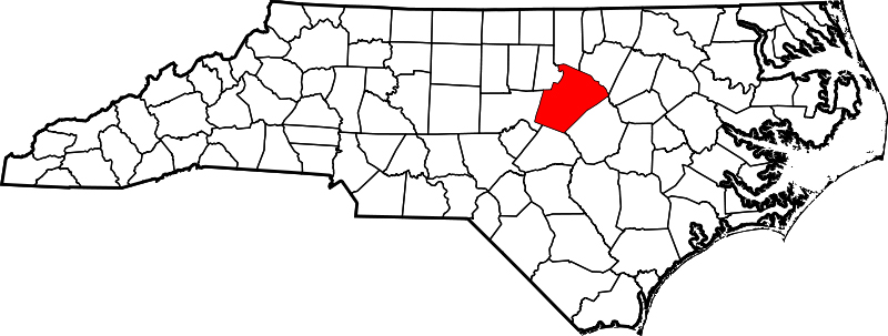 Map of North Carolina highlighting Wake County, February 12, 2006. Map by David Benbennick. Courtesy of Wikimedia Commons. Image is in public domain.