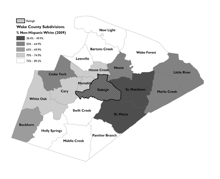 Map illustrating the percentage of Non-Hispanic White populations in Wake County Subdivisions, 2009. Map courtesy of the author.