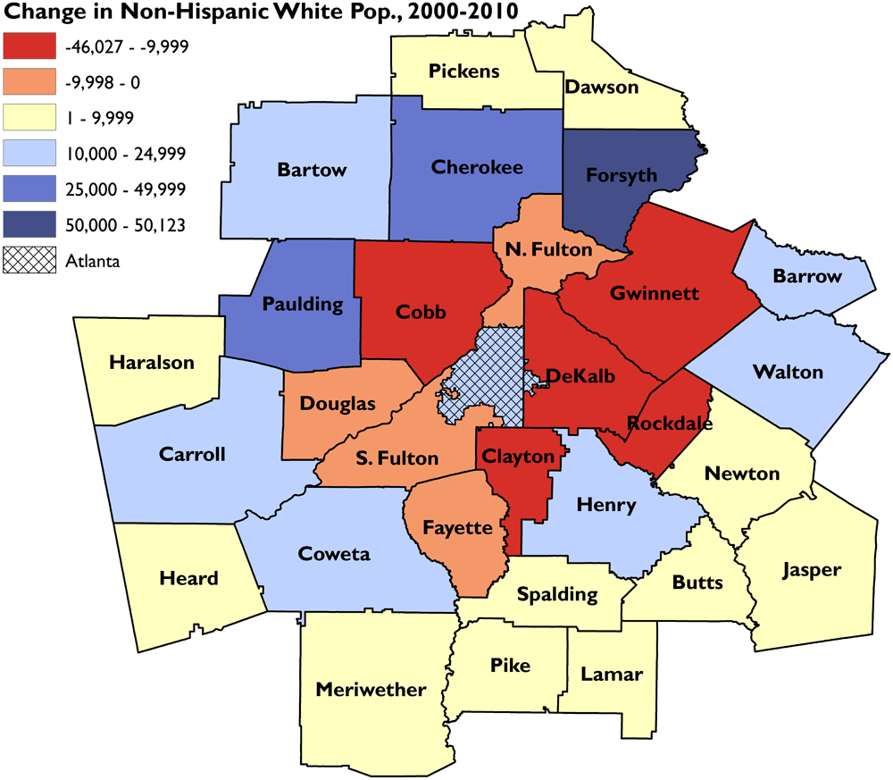 demographic map of atlanta Segregation S New Geography The Atlanta Metro Region Race And demographic map of atlanta