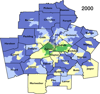 Atlanta Metropolitan Statistical Area segregation and integration by census tract for 2000. Sources: Cashin 2004; Wiggins, Morello, and Keating 2011; 2000 and 2010 Census; author.