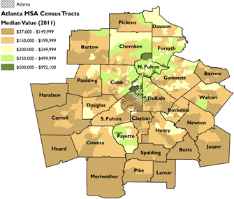 Median home value for Atlanta MSA census tracts. Sources: Rusk 2001; 2011 American Community Survey 5-Year Estimates; author.