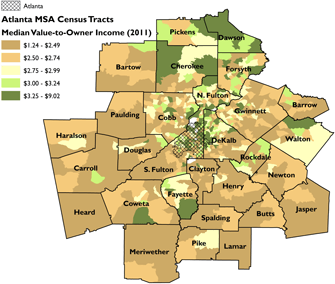 Median value-to-owner ratio for Atlanta MSA census tracts. Sources: Rusk 2001; 2011 American Community Survey 5-Year Estimates; author.