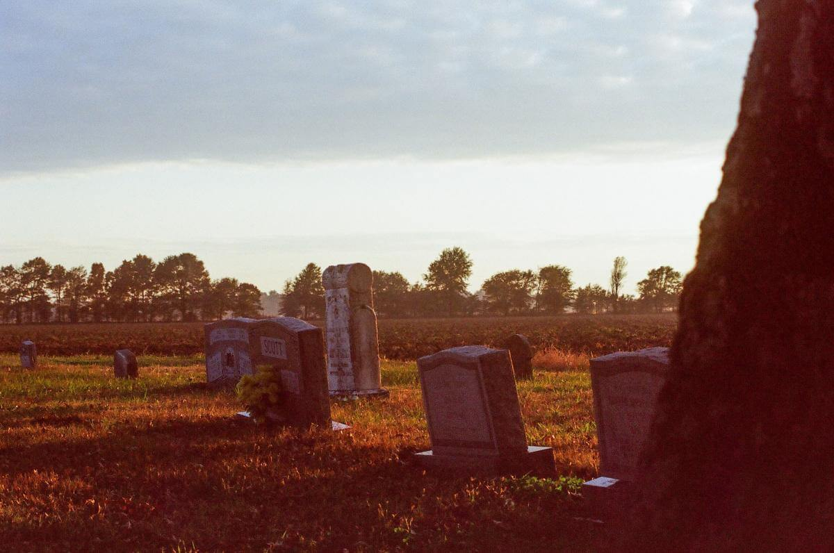 Scott family gravestones in a grassy field