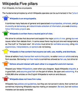 Screen capture of Wikipedia's five pillars, April 10, 2013.
