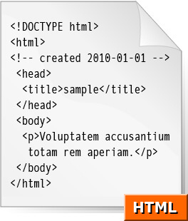 Very simple HTML, August 11, 2007. Graphic courtesy of Wikimedia Commons. Creative Commons license CC BY-SA 2.5.