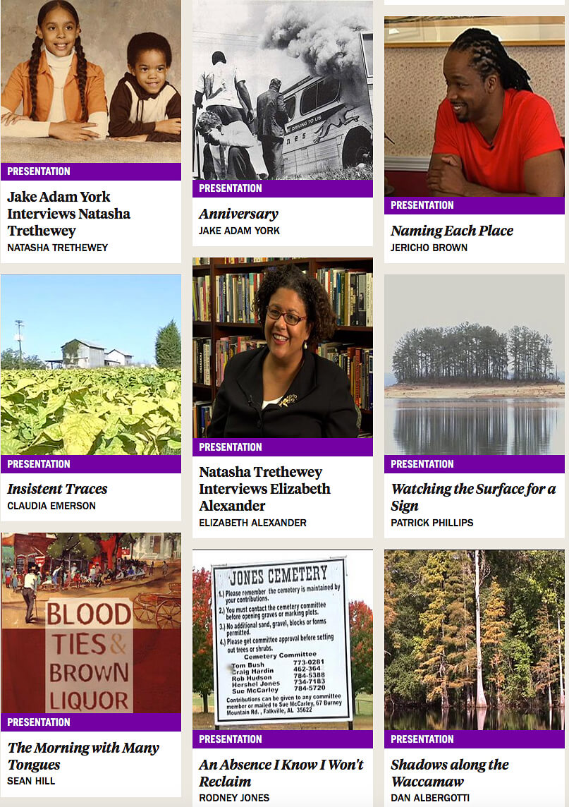 Articles in the Poets in Place series, April 2016. Screenshot courtesy of Southern Spaces.