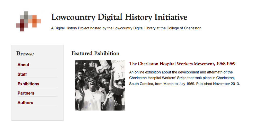 Lowcountry Digital History Initiative homepage, September 2016. Screenshot courtesy of Southern Spaces.