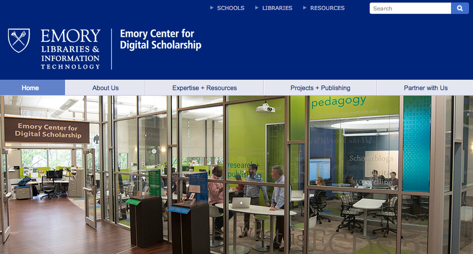 Emory Center for Digital Scholarship (ECDS) homepage, July 2017. Screenshot courtesy of Southern Spaces.
