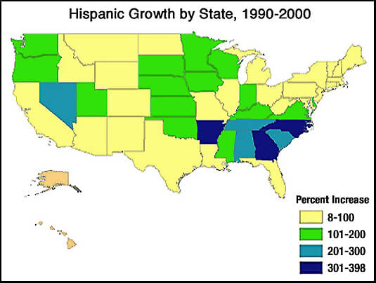 US Map: Hispanic Growth by State, 1990-2000
