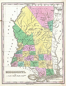 The 1827 Anthony Finley Map of Mississippi depicts the extent of the Choctaw nation in the state. It is featured on the cover of Osburn's book. Photograph by Geographicus Rare Antique Maps. Courtesy of Wikimedia Commons.