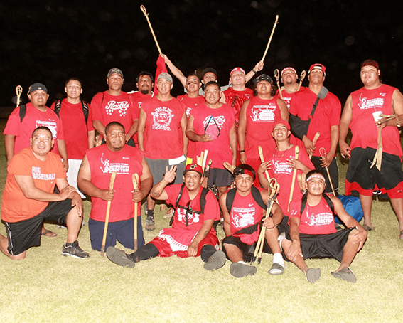 Choctaw Nation Labor Day Stickball Tournament. Photograph of Beaver Dam Team. Posted to Mississippi Band of Choctaw Indians Public Facebook Page, September 2, 2014.