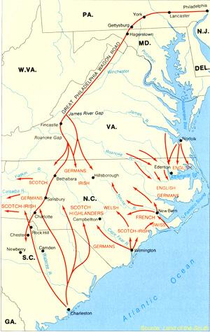 Routes of Carolina Piedmont Settlement