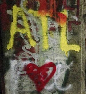 ATL, Love, graffiti in Atlanta, Georgia's Krog Street Tunnel, February 17, 2014. Photograph by Eric Solomon. From Eric Solomon.