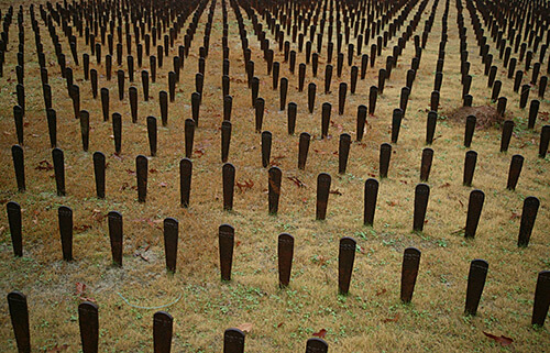 A symbolic representation of the more than 25,000 patients buried in unmarked graves on the Central State Hospital grounds in Milledgeville, Georgia. Photograph by John Kloepper. Creative Commons Liscense CC-BY-3.0.