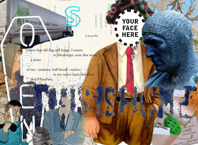 "A colorful collage of photographs, drawings, and text overlaying a street map. The most prominent image is a man in a suit and rollers in his hair, with a ""your face here"" cutout over his face."