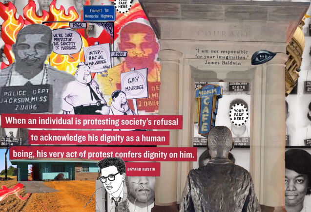 "A colorful collage of photographs, drawings, and text, including flames and text that reads, ""When an individual is protesting society's refusal to acknowledge his dignity as a human being, his very act of protest confers dignity on him"" —Bayard Rustin."