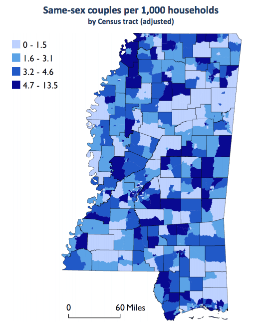 Map of Mississippi counties; majority of counties are colored in varying shades of blue, meaning they fall between 1.6 and 13.5 same-sex couples per 1,000 households.