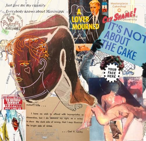 "A colorful collage featuring drawings, paintings, and text. The most prominent features are a sign reading ""It's not about the Cake"" and a silhouette of a human figure in the fetal position."