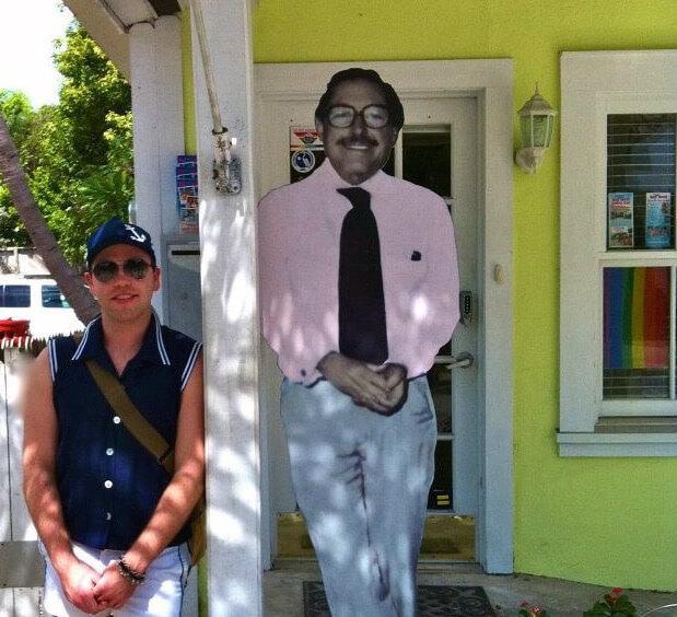 The author alongside Tennessee Williams, Gay and Lesbian Visitor's Center, Key West, Florida, March 2014. Photograph courtesy of the author.