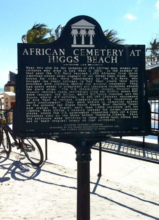 Historical Marker, African Cemetery at Higgs Beach, Key West, Florida, March 2014. Photograph courtesy of the author.