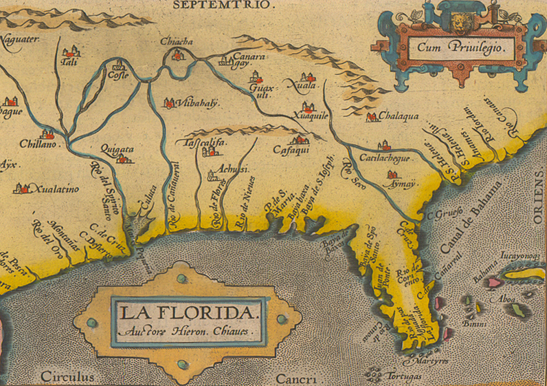 "Detail of La Florida and the ""Martyres"" at the tip of southern Florida, from Peruuiae auriferae regionis typus. Map by Abraham Ortelius, 1587. Courtesy of the Mississippi Department of Archives and History. Map is in the public domain."