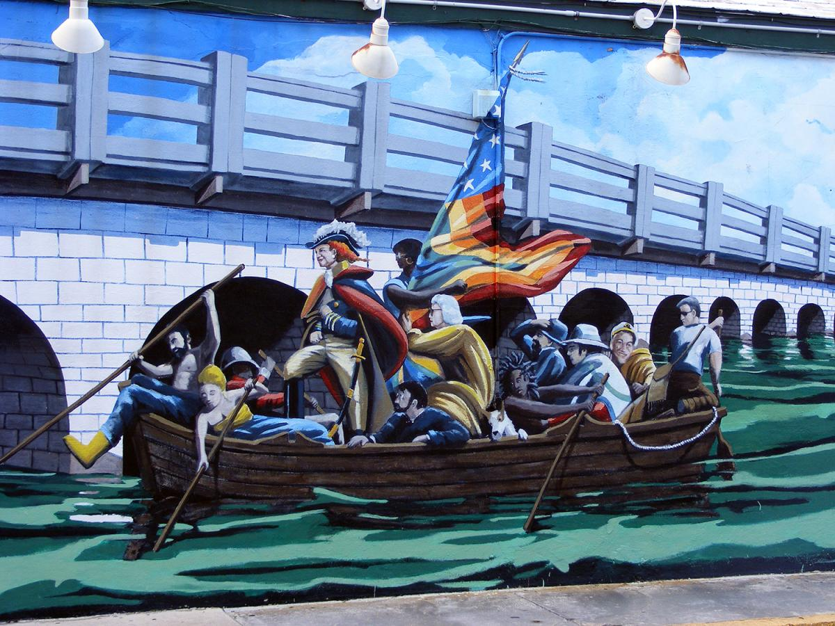 Wilhelmina Harvey Crossing the Seven Mile Bridge, Simonton Street, Key West, Florida, July 20, 2011. Mural by Rick Worth. Photograph courtesy of Flickr user Rachel Sample. Creative Commons license CC BY-NC 2.0.