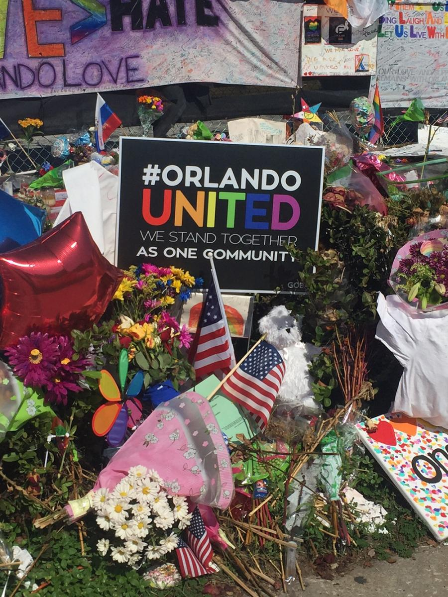 #Orlando United at Pulse nightclub, Orlando, Florida, July 8, 2016. Photograph by Flickr user Dannel Malloy. Creative Commons license CC BY 2.0.