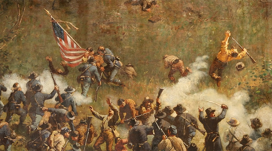 "Painting of the Battle of Atlanta, Cyclorama, Atlanta, Georgia, 1886, Daniel A. Pollock's ""The Battle of Atlanta: History and Remembrance,"" May 30, 2014. Painting courtesy of Southern Spaces."