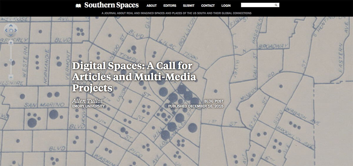 """Digital Spaces: A Call for Articles and Multi-Media Projects,"" December 16, 2016. Screenshot courtesy of Southern Spaces."