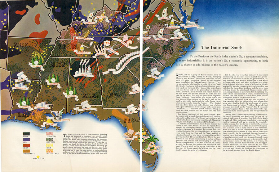 "Map of the industrial South, November 18, 1938, Mary E. Frederickson's ""Back to the Future: Mapping Workers Across the Global South,"" December 16, 2011. Illustration courtesy of Southern Spaces."