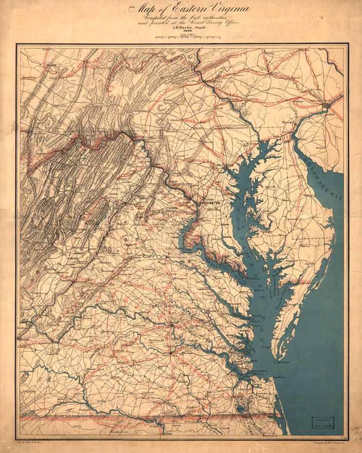 "Map of Eastern Virginia, ca. 1862, William G. Thomas III et al. ""The Countryside Transformed: The Eastern Shore of Virginia, the Pennsylvania Railroad, and the Creation of a Modern Landscape,"" July 31, 2007. Map courtesy of Southern Spaces."