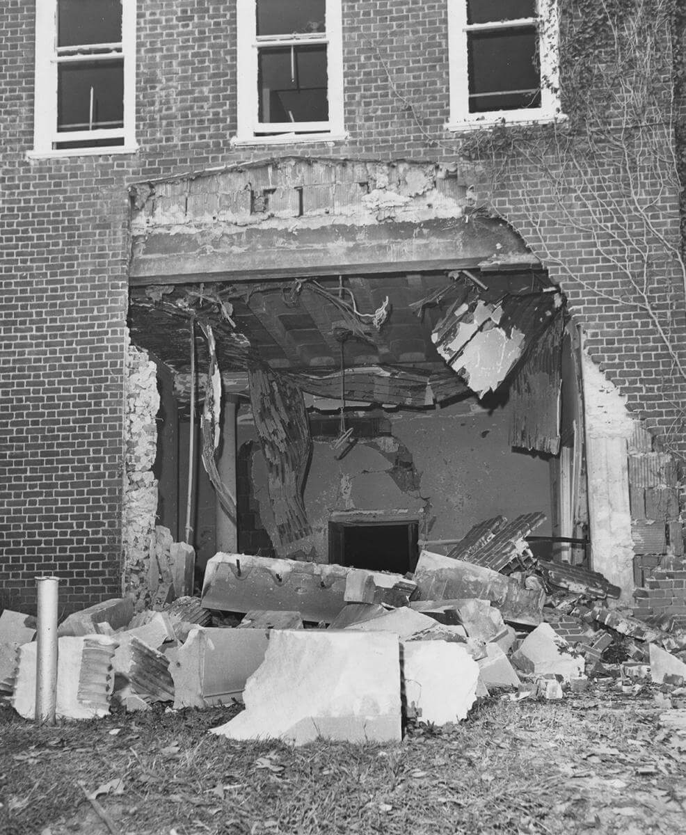 "Damage from the Reform Temple bombing, October 1958, Clive Webb's ""Counterblast: How the Atlanta Temple Bombing Strengthened the Civil Rights Cause,"" June 22, 2009. Image courtesy of Southern Spaces."