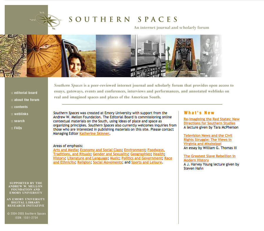Southern Spaces website, February 6, 2005. Screenshot courtesy of Southern Spaces.